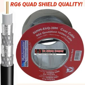 RG6 quad shield coaxial 30 meter roll industry standard foxtel  approved DIGITAL