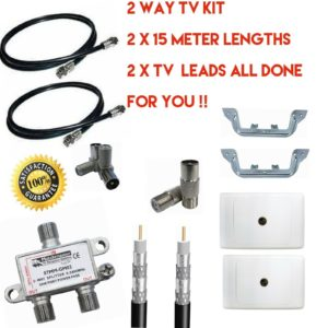 2 way tv outlet kit diy quality parts with rg6 cable with fittings hand made