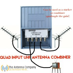 uhf diplexer combiner quad dual input get mega gain or separate directions stack