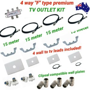 4 way tv outlet kit diy quality parts rg6 cable with fittings f type screw on A1