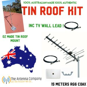 Tv Antenna tin roof KIT inc 15 m of Rg 6 Quad TV lead plug and play 4G filtering