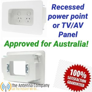 recessed power point mounting box Australian approved quality behind tv  fridge