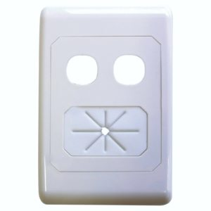 TV ANTENNA  wall plate av dual hole with cable tidy 05mm wp62 matchmaster supurb