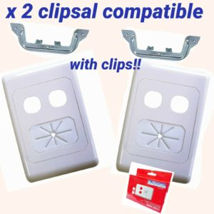 TV ANTENNA  wall plate av dual hole with cable tidy 05mm wp62 matchmaster x2