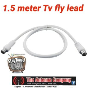 TV Antenna Cable 1.5 m White  PAL Male to Male Aerial Fly Lead Coax hdtv digital