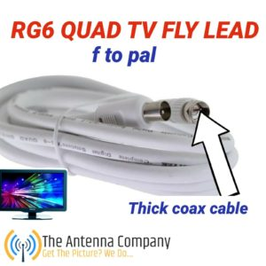 1.8m TV Antenna Cable PAL Male to F-Type Flylead Aerial Cord Coax Lead RG6 QUAD