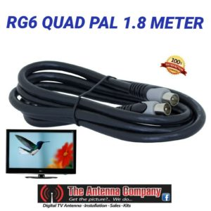 TV antenna cable lead  RG6 QUAD SHIELD Quality 1.8 METER PAL TO PAL BLACK   dtv