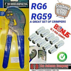 RG 6 Crimp Tool Trade Quality Including 10 RG 6 F Connectors UHF VHF  RG 59 f HD