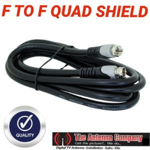 Tv antenna cable lead RG6 QUAD 1.8 METER  F TO  F  BLACK  QUALITY MOULDED hdtv