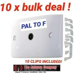 Wall Plate  PAL to F-Type Socket Outlet for TV Antenna Aerial Coax Cable X 10